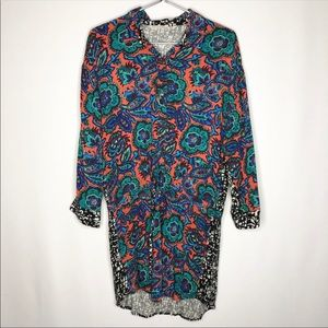 Rachel Roy Splice Pattern Floral Abstract Tunic
